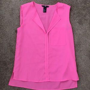 H&M neon pink sleeveless blouse